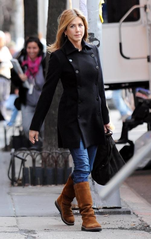 Jennifer Aniston wearing  Bronx Reno boots in Cognac DirtSuede  Returning to her hotel March 30 2009