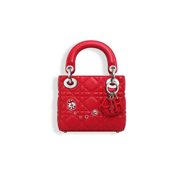 Nano lady dior bag in red lambskin leather - Dior ❤ liked on Polyvore featuring bags, handbags, lambskin handbags, lambskin leather purse, red handbags, lamb leather bag and red bag