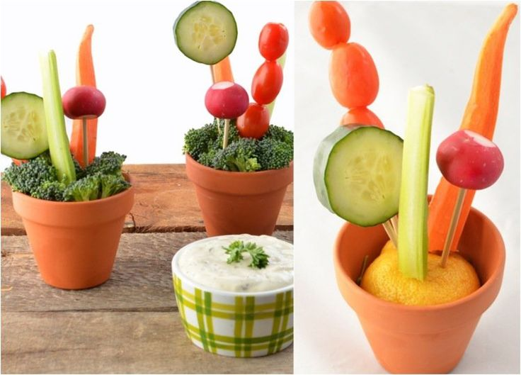 repas santé amusant: pots de légumes et trempette au yaourt