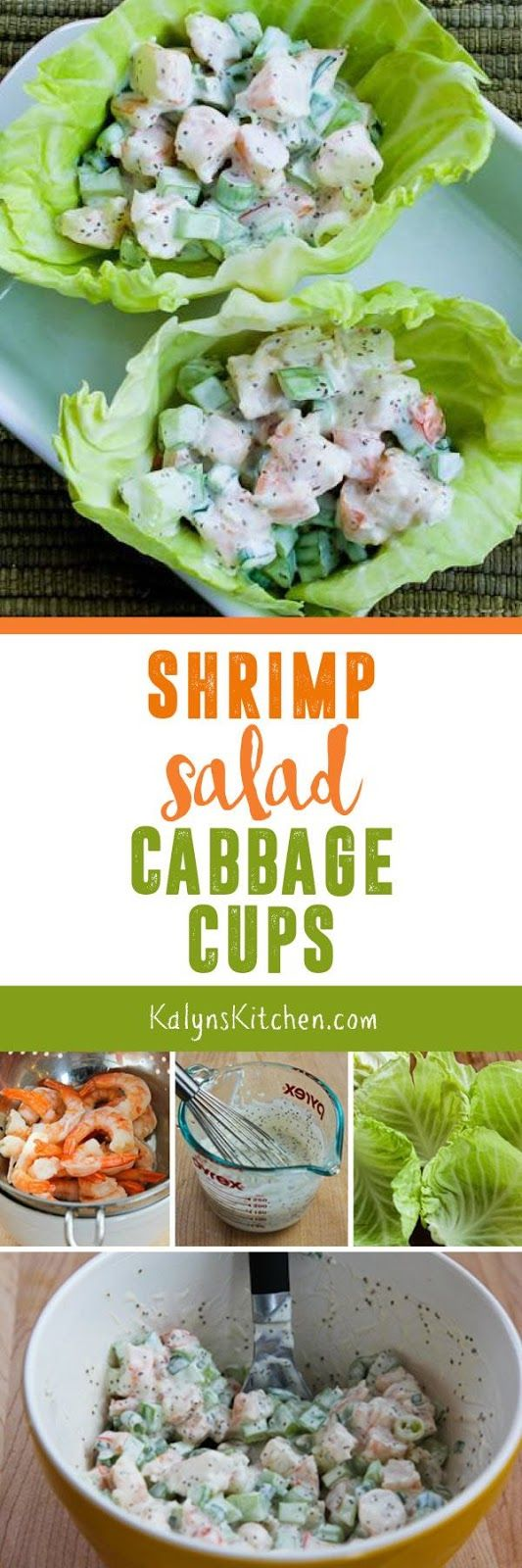 These tasty Shrimp Salad Cabbage Cups are a treat for lunch or game-day eats, and this recipe is low-carb, keto, gluten-free, dairy-free, South Beach Diet friendly, and can even be Paleo with the right mayo. Use lettuce if you're not a cabbage fan.  [found on KalynsKitchen.com]