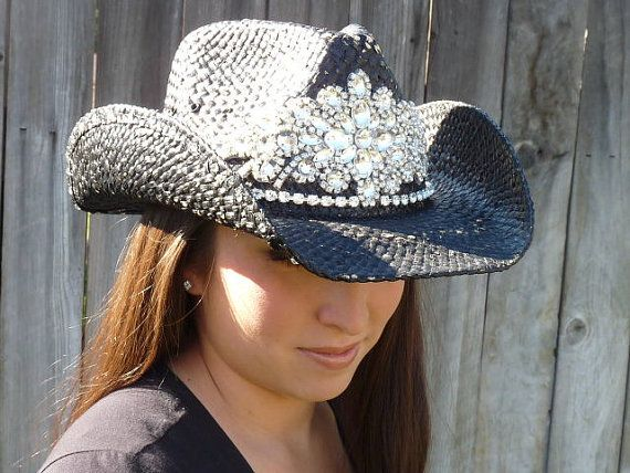 Ultimate bling black cowboy hat by Timetwochange on Etsy, $130.00