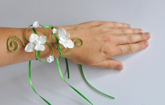 girls arm cuff bracelet  white flowers and light green vine or any colour vine or flowers flower girl mini maids wedding prom