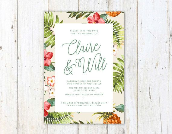 Tropical Save the Date Palm Leaves Wedding by AlexaNelsonPrints