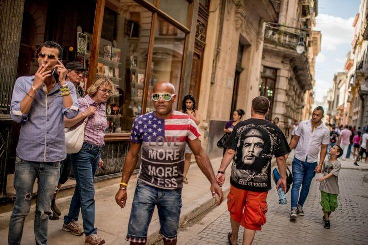 Modetrend in Kuba: Che Guevara geht immer als Motiv, doch neuerdings sieht man mehr und mehr amerikanische Flaggen.