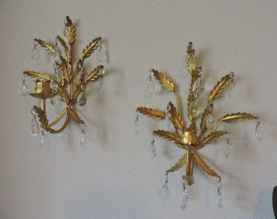 Italian Gold Leaf Toleware Sconces  Vintage by GreenTreeBoutique