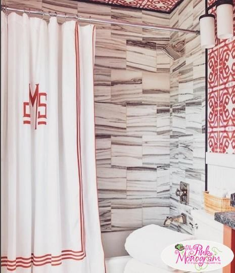 NEWPORT SHOWER CURTAIN By Matouk Three Bold Lines Of Applique Trim Make A Accent On