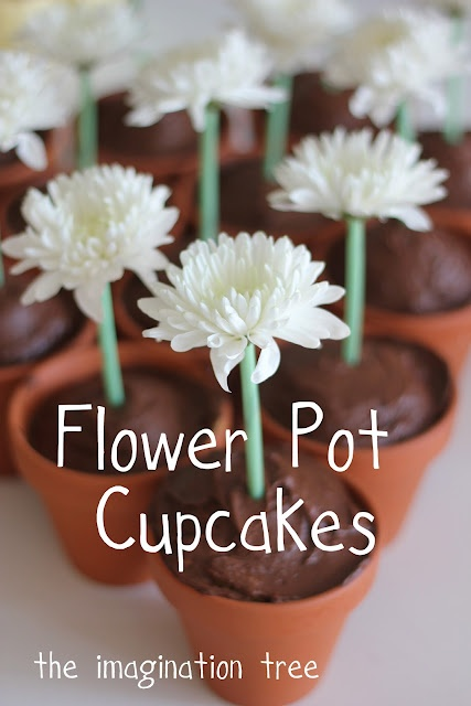 Bake cupcakes in flower pots for a garden party theme!