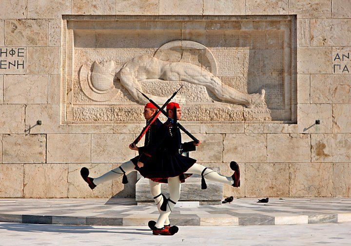 Greece Art & Architecture ///   The Unknown Soldier Monument and the Evzones, Syntagma square, Athens, Attica, Greece  researched by NEΦEΛH AΓΓEΛΛOY