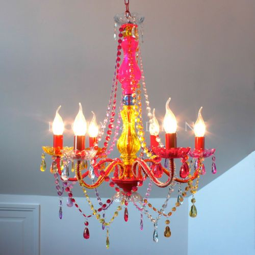 Multi coloured 6 light gypsy boho retro crystal escape roomcrystal chandelierstempleexcellent