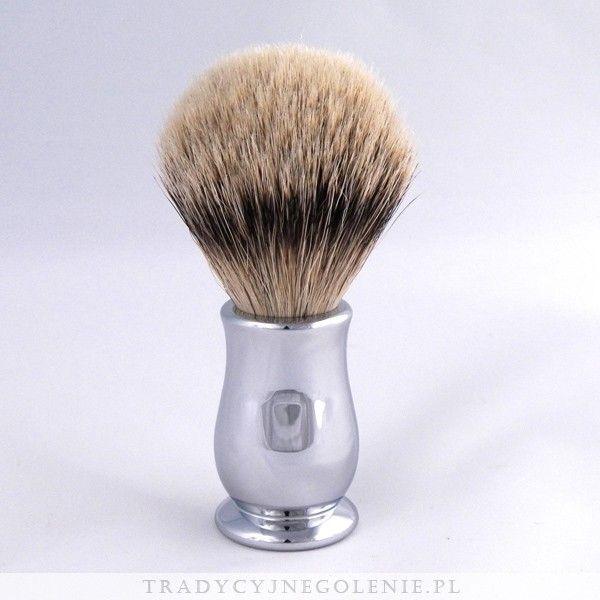 Najwyższej klasy angielski pędzel do golenia EDWIN JAGGER z najwyższej jakości ręcznie selekcjonowanego włosia borsuka klasy super badger.Rączka mosiężna, niklowana i chromowana.