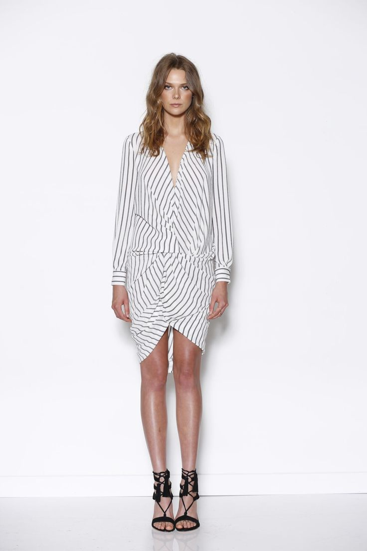 Ministry of Style - Division Twist Dress - White/Navy