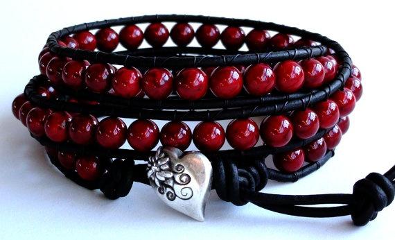 Triple Wrap Red Leather Wrap Bracelet by TaphiaDesigns on Etsy, $35.00