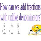 This power point explores the concept of we add fractions with unlike denominators.  The power point asks students to compare blood types with diff...