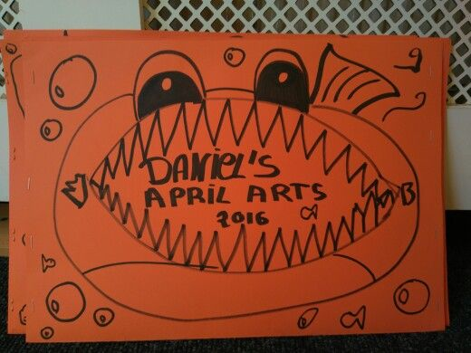 Scary fish art folder