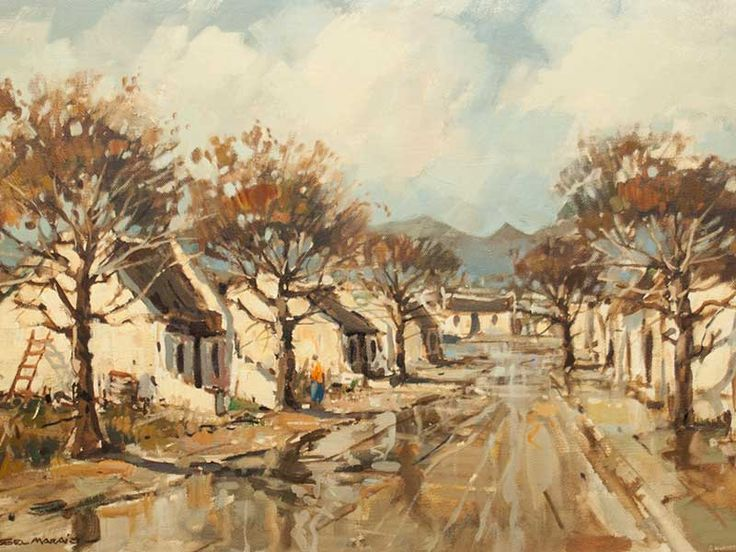 Wessel Marais (SA 1935 - 2009) Oil, Cape Street Scene