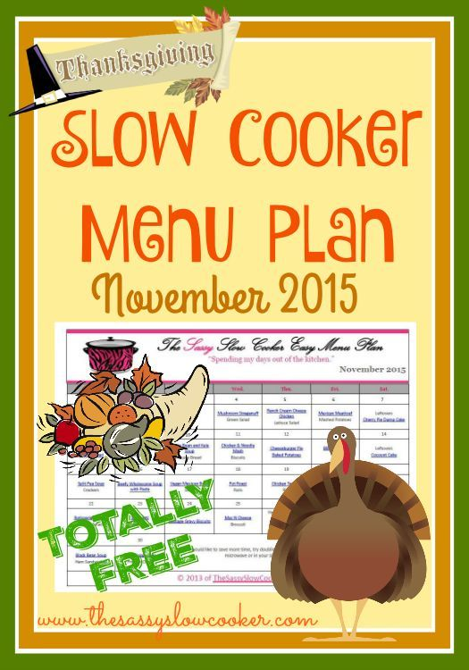 FREE Slow Cooker Menu plan for November. Lots of new recipes to try.