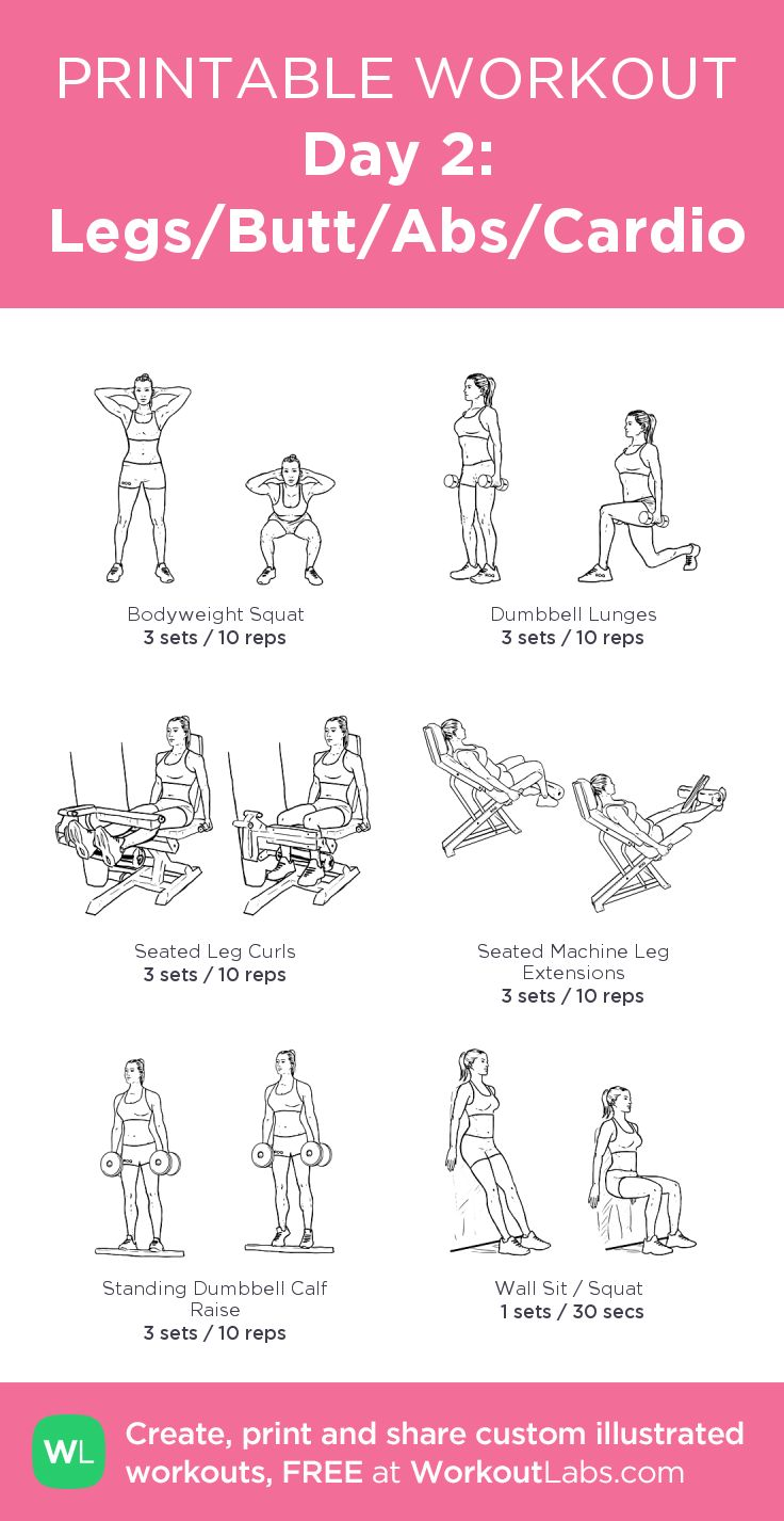 Day 2: Legs/Butt/Abs/Cardio: my custom printable workout by @WorkoutLabs #workoutlabs #customworkout