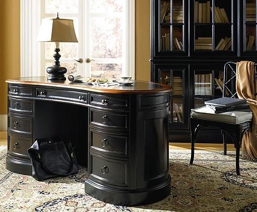 Black Distressed Wood Office Desk ~ Classic Home Decor