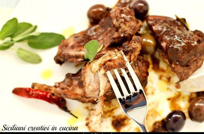 Coniglio al vino rosso con le olive