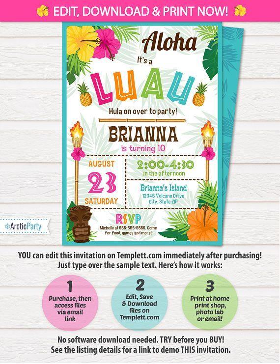 Luau Invitation Luau Birthday Invitations Luau Party $8 #LuauInvitation #LuauBirthdayInvitations #LuauParty