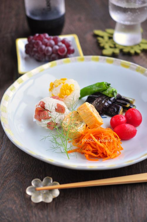 Colorful rice ball lunch on a plate