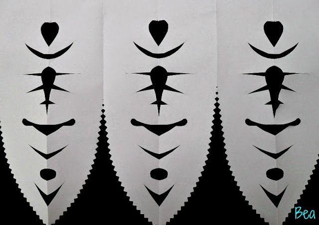 kreatywne prace plastyczne: Prosta ludowa wycinanka z papieru, simple folk paper cut-out