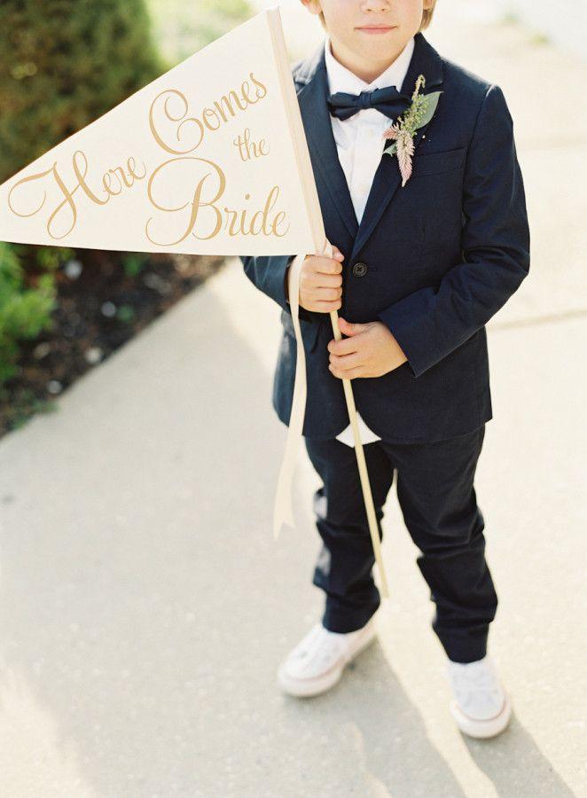 Here Comes the Bride Wedding Sign | Large Ring Bearer Flower Girl Banner