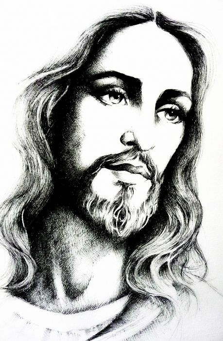 Jesus Christ Sketch By Marie Bouldingue | Christian Art | Pinterest | The Father I Am And All Love