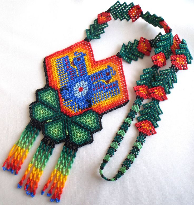 Mexican Huichol Beaded Two headed eagle and peyote necklace by Aramara on Etsy