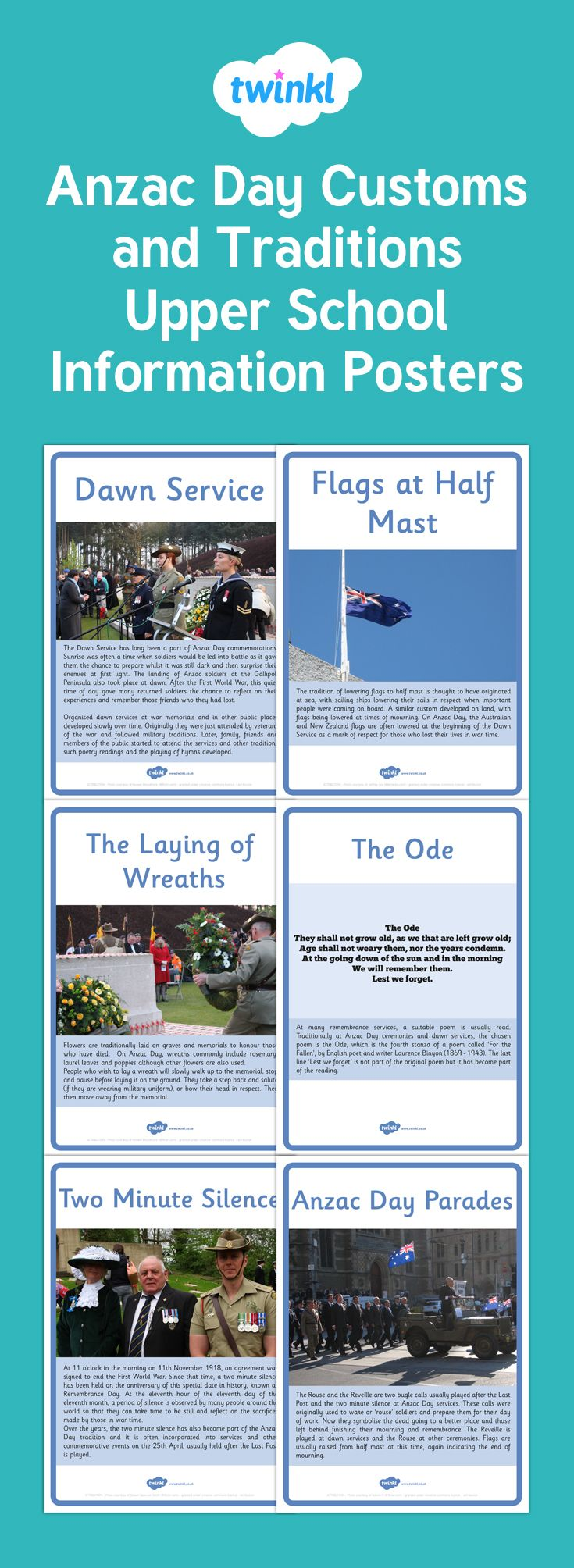 A great set of information posters detailing the customs and traditions of ANZAC Day. Display in the classroom or use for reading comprehension or research activities.