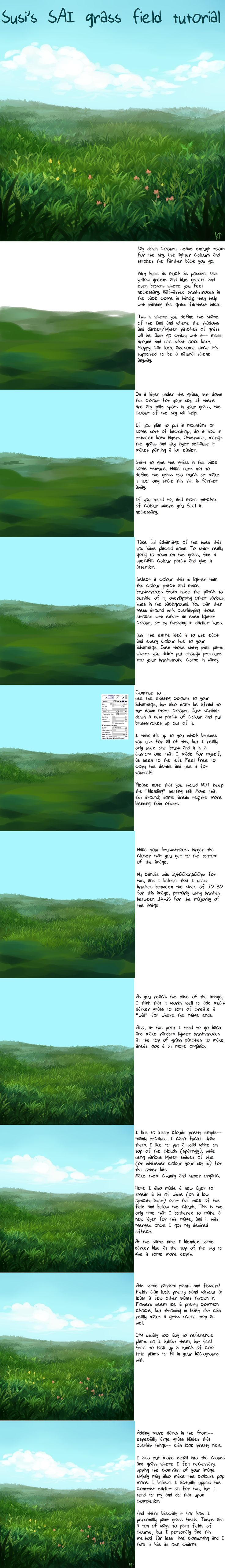 SAI Grass Field Tutorial by Susiron.deviantart.com on @deviantART