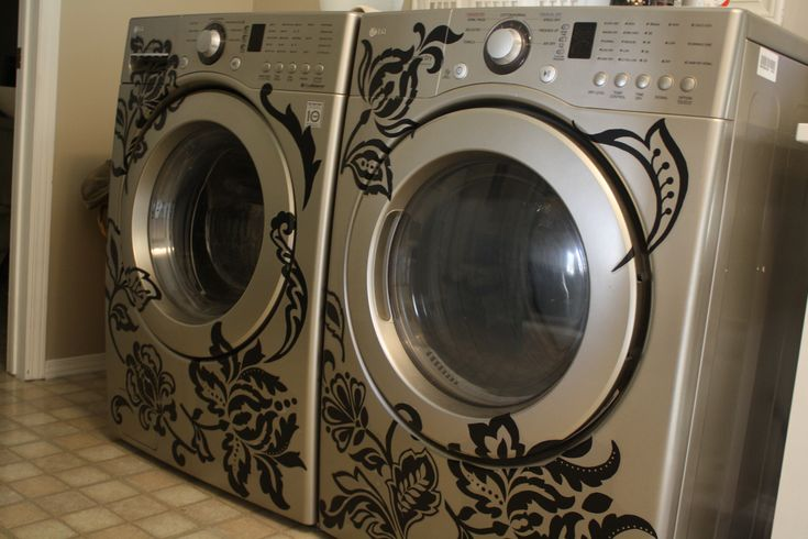 Laundry Room - Washer and Dryer with Vinyl Wall Decal from Walmart! So cute!