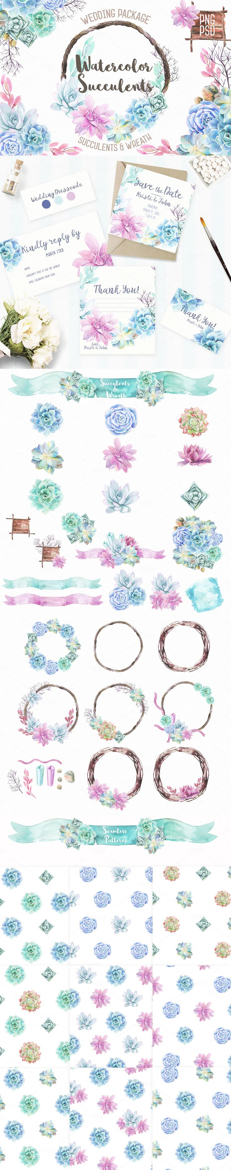 #Watercolor Succulents & Wreath #Illustrations