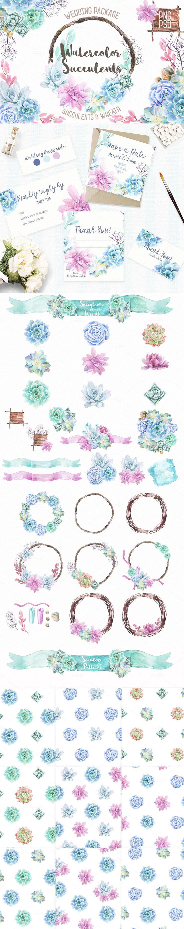 #Watercolor Succulents & Wreath #Illustrations