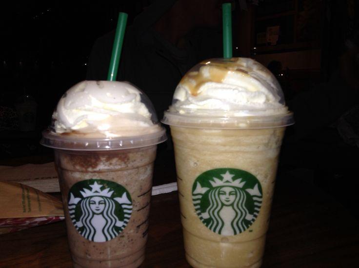 Carmel frapuchino and double chocolate frapuchino at Starbucks