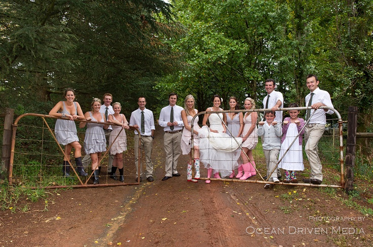 Farm wedding in the rain