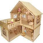 Kit Casa De Bonecas Com 21 Moveis Escala Polly July Em Mdf Cru
