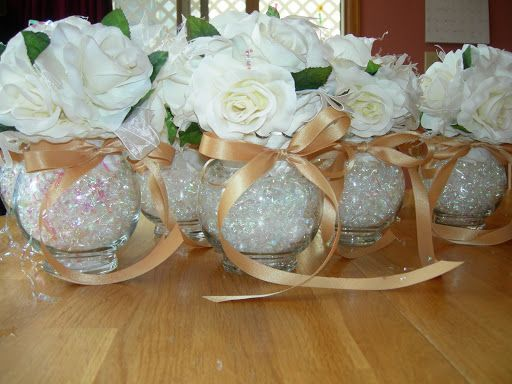 fishbowls with crumpled cellophane filler? roses, champagne ribbon 50th wedding anniversary party ideas   50th anniversary party ideas   ... tags 2008 50th wedding anniversary ...