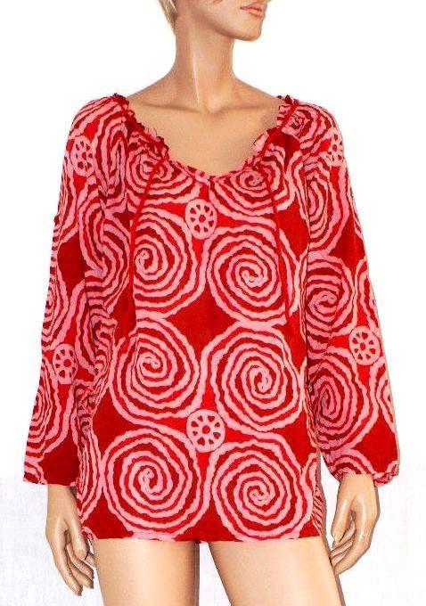 Gipsy Cover Up Tunic Blouse Festival Cotton Boho Hippie T-Shirt Camicia Tunica Copricostume Blusa Donna Tela Cotone Rosso Taglia Unica S/M di BeHappieWorld su Etsy