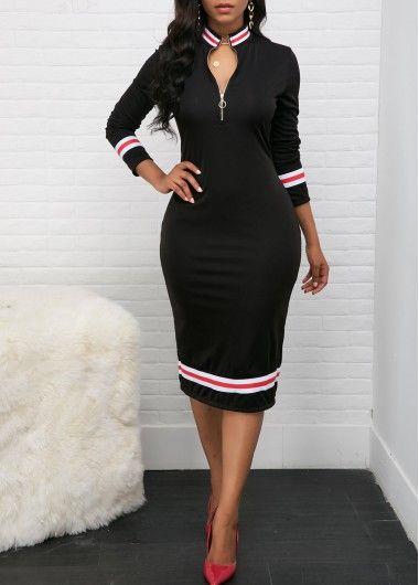 b5dd9c6b0a1 Zipper Front Striped Hem Black Sheath Dress in 2019