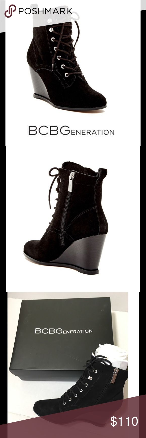 """🆕 BCBGeneration Wiley Wedge Bootie BCBG Black Suede Wedge Bootie. Features: Round Toe. Suede Construction. Lace-Up with side zip closure. Lightly padded insole. Back pull loop. Stacked wedge heel. Approx 3 3/8"""" Heel. Approx. 6"""" shaft. Suede Upper man made sole. Brand new in box with original packaging from Nordstrom. BCBGeneration Shoes Ankle Boots & Booties"""