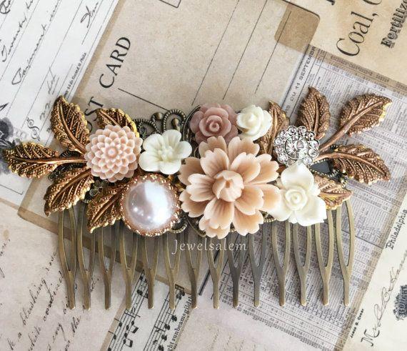 Bridal Hair Comb Wedding Headpiece Floral Hair by Jewelsalem