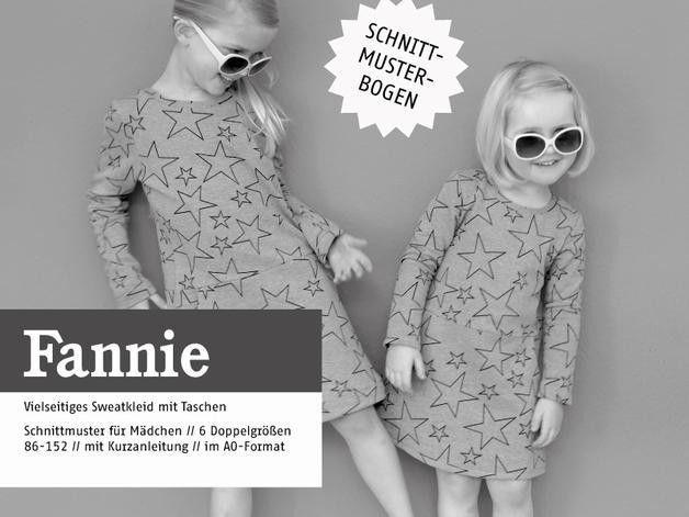 Kindermode - FANNIE Sweatkleid mit Taschen, Schnittmuster - ein Designerstück von dienaeherei bei DaWanda