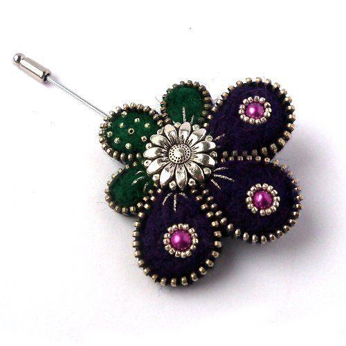 Aneta Kulesza.Unusual Zipper Brooch, Felt Pin, Zipper Brooch with Pearls and Button,Handmade Jewelry via Etsy