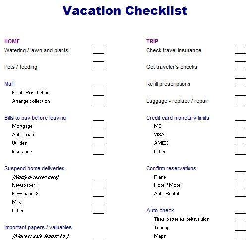 vacation checklist - Google Search