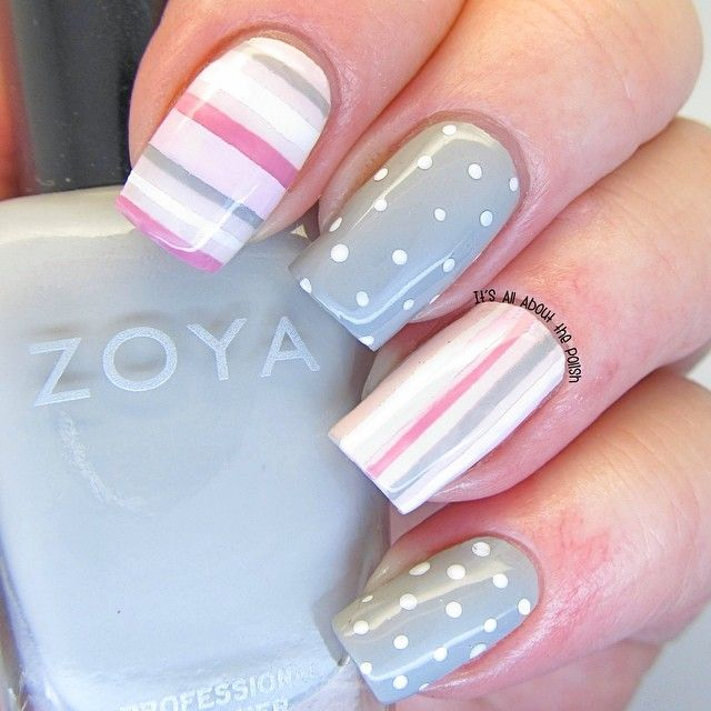 Pastel looking polka dots and stripes ===== Check out my Etsy store for some nail art supplies https://www.etsy.com/shop/LaPalomaBoutique