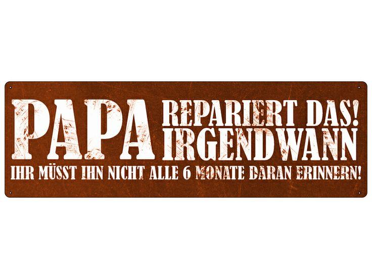 PAPA+REPARIERT+Blechschild+Shabby+Metall+Schild++von+INTERLUXE+auf+DaWanda.com