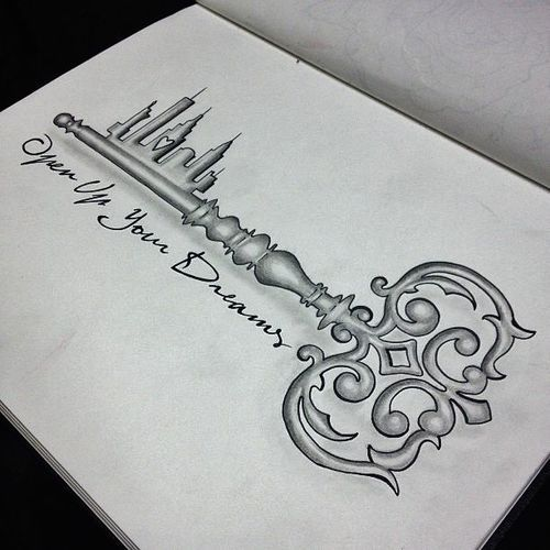 Stunning Fairytale Key Tattoo- Open up your dreams, change that city thing into a pretty palace and this is perfect