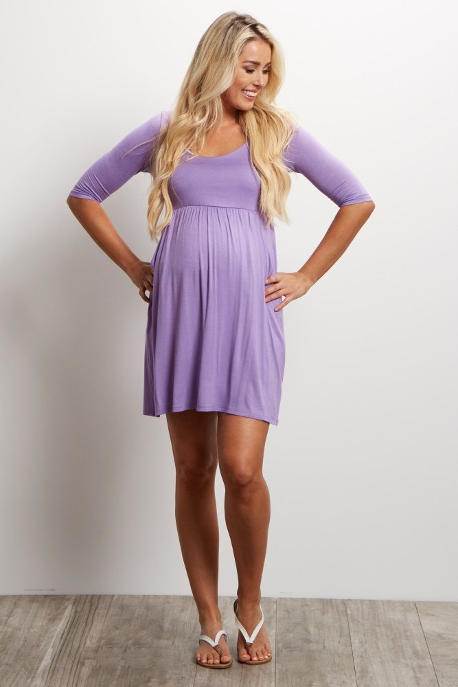 Purple Draped Pocket Maternity Dress