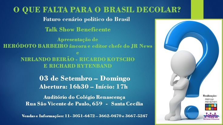 """Heródoto Barbeiro, Nirlando Beirão, Ricardo Kotscho e Richard Rytenband discutem """"O que falta para o Brasil decolar?"""" em evento da Na'amat e Mishcan Menachem."""